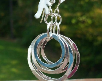 Circle Earrings Sterling Silver Boho Dangle Earrings Hammered Circle in a Circle Hoops Hippy Dangle Movable Mother's a Day Gift For Her