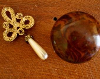 Vintage Brooch, Scroll Design, Faux Pearl Teardrop, Gold Tone Brooch