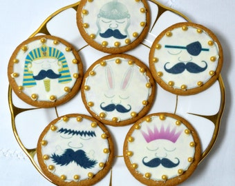 Edible Mr Moustead Moustache Wafers Rice Paper - Cake Cupcake Biscuit Toppers - Afternoon Tea Party Decoration -LARGE 6cm Circles