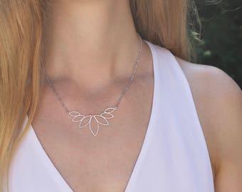 Silver Lotus Necklace // Boho Necklace // Petal Necklace // Layering Necklace // Bohemian Necklace // Flower Necklace // Geometric Necklace