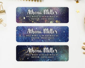 Address Labels / Space Themed Personalized Return Address Labels / Custom Address Labels / Address Sticker / Address Label Sticker / Athena