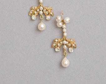 One Of A Kind Pearl Chandelier Earrings Cubic Zirconia Vintage Inspired Earrings Best Gift For Her