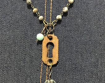 ON SALE Vintage Sarabeth Long Line Necklace with Gray Stone and Crystal  Bead Chain, Brass Keyhole and Round Prism Pendant