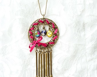 LIVRAISON GRATUITE collier Long en résine - inspiration Vintage - correspond à breloques - ruban de Satin rose Fuchsia - idées cadeaux - Shabby Chic