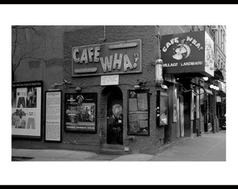 Cafe Wha? Greenwich Village, New York City. Street Scene, Black and White.
