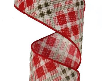 "2.5"" Red Green Cream Plaid Ribbon, Red Plaid Ribbon, Plaid Ribbon, Wired Ribbon, Christmas Ribbon, Holiday Ribbon  (10 Yards) - RN4877HT"