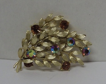 Vintage Esco Leaf Brooch With Colored Stones