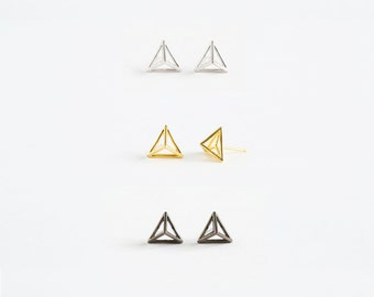 Triangle Earrings/Geometric Earrings/3D Printed Jewelry/Sterling Silver