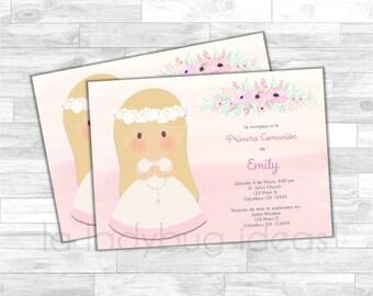 Invitación Primera Comunión de Niña. First Communion Invitation for girl. Pink, white, gray baptism or first communion. Floral Watercolor.