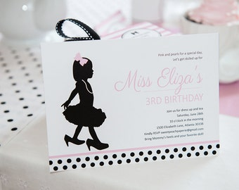 Little Miss Collection: Printable Party Invitation (Tea Party, Dress Up, Tutu, First Birthday Party)