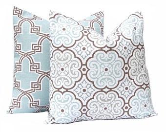 Two Throw Pillow Covers - Aqua Pillow Covers - Living Room Pillows - Aqua Throw Pillow - Sofa Cushion Covers - Aqua Decor - New Home Gift