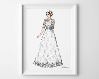 1st Anniversary Gift for Her, Anniversary Gift for Wife, Custom Bride Portrait, Bride Illustration, Wedding Portrait, Anniversary Portrait