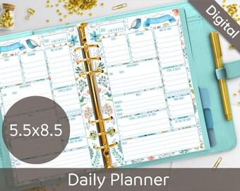 5.5 x 8.5 Daily Planner Printable, Planner Printables, Half size refills, Junior size, Arinne Blue Bird DIY Planner PDF Instant Download