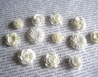 White Magnet Set 12 pc Fridge Magnet Set, Decorative Magnets, Kitchen Decor, Flower Magnets, Wedding Favors, Housewarming Gift, Hostess Gift