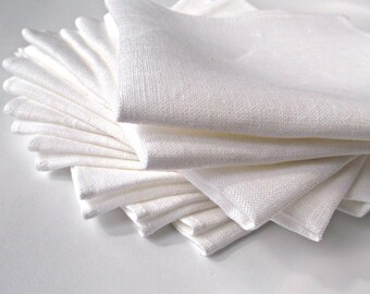 White linen napkins, Everyday napkins Small cloth linen squares, Reusable Natural table linens,30 cm squares 12 inch Set of 6