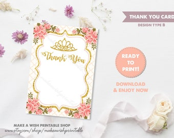 Party Thank You Insert, Thank You Notes Download, Pink Floral Thank You Cards, Blank Note Card, Floral Thank You Notes, Printable Card US03