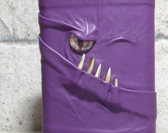 Flask 8 Ounce Purple Leather With Face Monster Goth Horror Groomsman Gift One Of A Kind 72