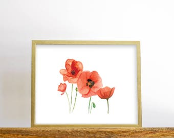 Watercolor Poppies Print, Watercolor Painting, watercolor print, flower art, printable wall art, digital prints, dogwood flower