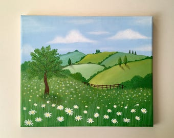 Countryside scene acrylic painting on canvas