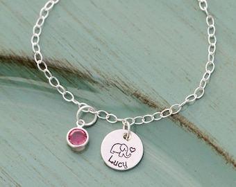 Elephant Bracelet Little Girls Bracelet Cute • Little Elephant Present • Girl Name Bracelet Custom Girls Gift•Sterling Silver Charm Bracelet