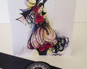 Fashion blank greeting card-Fashion greeting card her-fashion gift card-card for her-hand drawn card-ink drawn card-girlfriend card