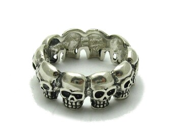 Sterling silver pendant solid 925 skull ring band with natural leather