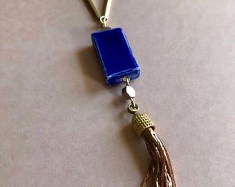 Royal Blue Tassel Necklace