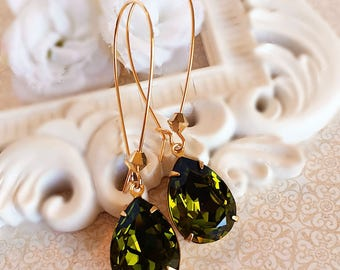 Green Earrings - Olive - Swarovski Earrings - Prom - SOMERSET Olive