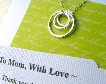 MOM Necklace Poem Card Gift for Mother Jewelry for Mom Sterling Silver Rings Representing a Mother and Her Children - REMINDER POEM