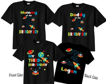 3rd Birthday Shirts with Space  Family Birthday Shirts with Space on BLACK Shirts
