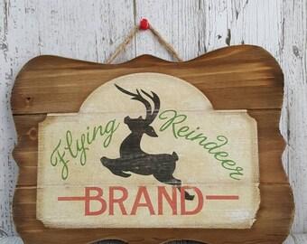 Rustic wood Christmas flying reindeer plaque decor farmhouse