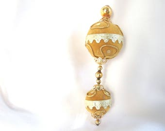 Gold Flocked Icicle Ornament - Vintage 1960's Icicle Christmas Ornament with Glass Beads