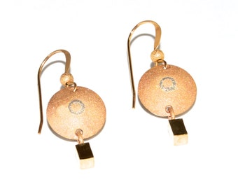 """Dangle glimmer earrings, 14 karat inlaid sterling, round """"shield"""", sand blasted, high polish dangle, catches light, 14K french hook, 3.9g"""