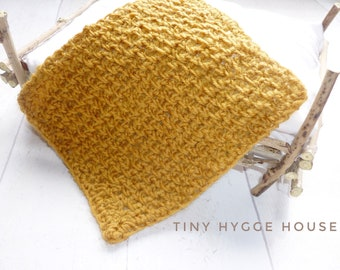 1:12 Mustard Ochre textured miniature dolls house throw blanket