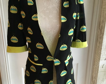 Vintage 70s Vibrant Print Fitted Jacket Size US 6  UK 10