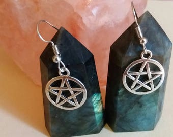 Pentacle earrings, Pentagram, Wicca, Wiccan jewlery, witch, witch