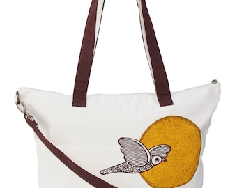 Beige Bird on a Wire Canvas Tote with Brown Detachable Cross Body Shoulder Strap / Hobo / Purse / Messenger / Hip Office Handbag