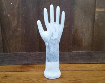 Vintage Glazed Porcelain Glove Mold Extra Small Industrial Decor Display General Porcelain