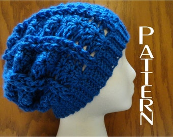 Crochet Pattern Cabled Shell Slouchy Beanie Hat Pattern Only