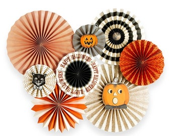 Halloween Party Fans - Party Paper Fans - Halloween Party Decor - Paper Fan Backdrop - Backdrop - Halloween Pinwheel Backdrop - HWP108