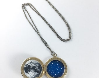 Secret Sky - hand painted locket necklace