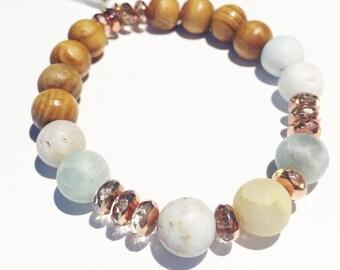 Amazonite | Rosegold | Wood | Diffuser Bracelet