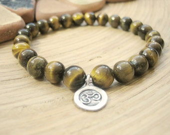 Mens Om Bracelet - Mens Tigers Eye Bracelet with Silver Charm, Bohemian Mens Gift, Mala Beads for Confidence, Prosperity and Success