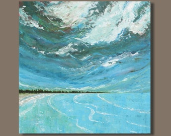 large abstract painting, ocean painting, landscape painting, east coast turquoise blue, beach painting, wall art, art on canvas