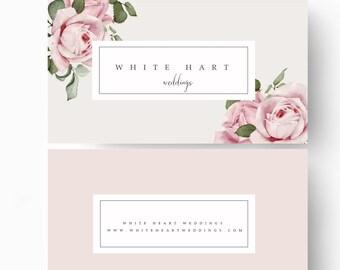 Business Card Template, Modern Business Card Design, Flower business card, Simple business card, Brand Design, Pink business card,