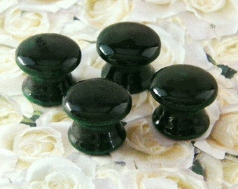 Hand Painted Knobs in Hunter Green. Available in 1.5, 1.25 or 1 Inch. Beautiful Accessory for the Office, Library, Bath, Kitchen or Bedroom