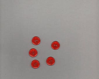 Eleven buttons round bright red color with stripes o 1.60 cm