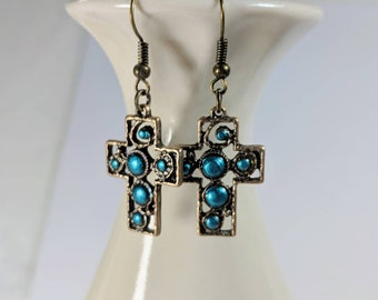 Cross Earrings, Turquoise, Spiritual Earrings, Easter, Antique Brass, Delicate Cross Dangles, Airy Dangles,  Painted Crosses