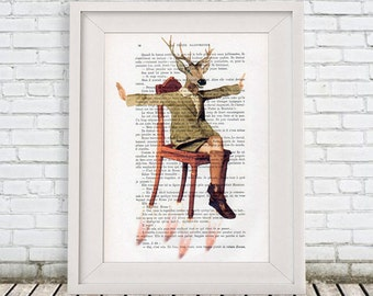 Woodland Deer Print, Stag Poster, Christmas Gift, Holiday Gift, Deer Mask, antlers, Coco de Paris, flying deer, flying to the moon