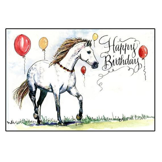 Grey Horse Birthday Card Dappled Gray Birthday Horse Card